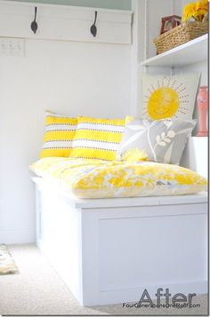 FAmily room before and after you are my sunshine pillow