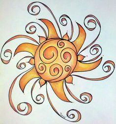 Swirly Sun by ~Misstcalia on deviantART.that would be pretty behind my star and moms name. Sun Moon Stars, My Sun And Stars, Kunstjournal Inspiration, Art Journal Inspiration, Mandala, Doodle Drawings, Doodle Art, Sun Doodles, Good Day Sunshine