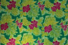 Hibiscus and Plumeria flowers with different glittered Hawaiian leaves Green