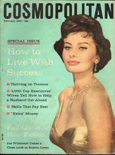 Cosmopolitan magazine, FEBRUARY 1958 Sophia Loren on cover