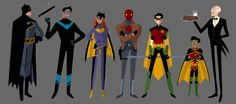 A Batfamily affair. Batman, Nightwing, Batgirl, Red Hood, Red Robin, Robin, & Alfred.