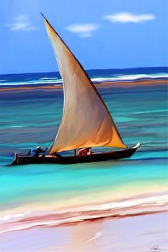 Free Sailing - digital painting by ©Paul Miners - http://minerswildlifeart.wordpress.com/2011/03/13/free-sailing-painting-of-sail-boat-in-beautiful-blue-waters/