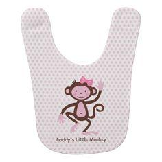 Little Monkey Baby Bib Pink Personalized