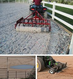 Credit: TOP IMAGE COURTESY OF PARMA COMPANY; BOTTOM-LEFT IMAGE BY GAVIN EHRINGER; BOTTOM-RIGHT IMAGE COURTESY OF ABI EQUINE TOP: If you're on a budget, small groomers like this arena tool by Parma attach to ATVs to properly work your dirt. ABOVE-LEFT: Pooling water in outdoor arenas can be caused by many problems, including poor drainage, faulty grading, and improper siting. This arena, for example, is located on the side of a hill, in a basin. Regrading the base so that it tilts downhill…