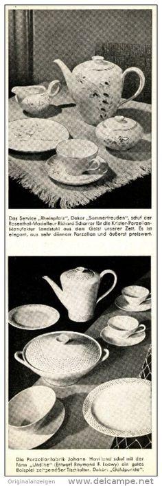 Original-Werbung/Anzeige 1954 - ROSENTHAL PORZELLAN / FORM RHEINPFALZ / UNDINE  - ca. 65 x 220 mm