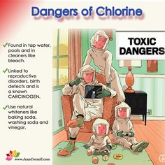 Chlorine is in household cleaners, used as a fumigant & since it impedes the growth of bacteria like e.coli, giardia, & often added to water systems as a disinfectant. Much exposure happens by drinking treated tap water. Concerns have been raised about the safety of chlorine, which has been linked to serious adverse health effects, including dementia in elderly patients. Studies show that long-term exposure to chlorinated pools can cause symptoms of asthma in swimmers…