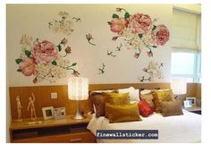 DIY Peony Flowers Art Vinyl Removable Wall Decals Sticker Mural Room Decor LXL for sale online Flower Wall Stickers, Wall Stickers Home, Wall Stickers Murals, Art Vinyl, Stick Wall Art, Flower Mural, Removable Wall Decals, Mural Art, Queen