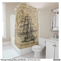 Shop Vintage Sailing Ship and Old European Map Shower Curtain created by Emerald_Star. Burlap Shower, Shower Curtain, Vintage Home Decor, Vintage House, Custom Shower, European Vintage, Curtains, Kraken Shower Curtain, Vintage Shower Curtains