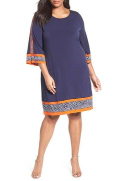 MICHAEL Michael Kors Border Print A-Line Shift Dress (Plus Size)