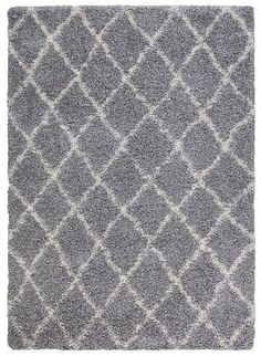 "Amazon.com - Ivory and Grey Contemporary Beni Ourain Inspired Trellis Design 5 by 7 Modern Shaggy Area Rug (5'0""X7'0"") -"