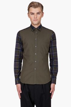 Givenchy Contemporary Olive Plaid Sleeve Shirt for Men  85e3a88913979