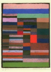 Paul Klee - 'Individualized Altimetry of Stripes' 1930  Pastel fixed with flour paste  18 1/2 x 25 1/8  Paul Klee Foundation, Kunstmuseum,Berne,Switzerland