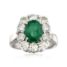 4.50 ct. t.w. Emerald and Diamond Ring In 18kt White Gold