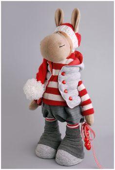 Donkey doll Rag doll Tilda doll Interior doll Art doll red doll Soft doll Cloth doll Fabric doll Nursery doll Baby gift doll by Alena R Red Dolls, Tilda Toy, Reno, Soft Dolls, Red And Grey, Fabric Dolls, Baby Dolls, Baby Gifts, Doll Clothes