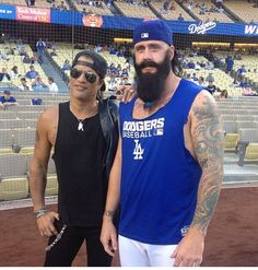 Slash and Brian Wilson at Dodgers Stadium. #Dodgers #FearTheBeard