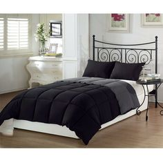 Full/Queen 3-Piece Black Grey Down Alternative Reversible Comforter Set