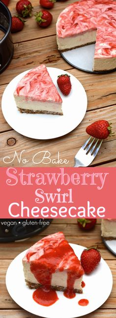 A vegan No-Bake Strawberry Swirl Cheesecake worth hoarding! It has the authentic cheesecake taste without the heavy dairy. This healthier, rich & creamy cheesecake is easy to whip-up, only takes 10 ingredients and includes a fresh strawberry swirl top wit Vegan Dessert Recipes, Gluten Free Desserts, Dairy Free Recipes, Strawberry Swirl Cheesecake, Dairy Free Cheesecake, Cheesecake Recipes, Baked Strawberries, Vegan Treats, Sans Gluten