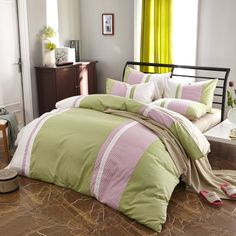 Spring Flowers Light Green Modern Bedding College Dorm Bedding