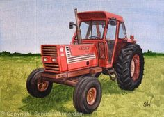 Fiat Tractor Painting - Acrylic on Canvas Board