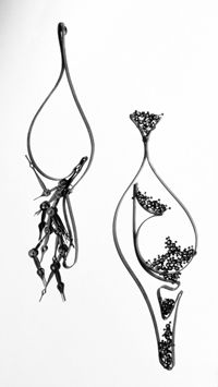 """Sergey Jivetin. """"Time Curvatures 1 and 2,"""" Watch Hands, Steel, Silver, 5 x 1.5 x .25 in., 2006."""