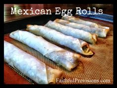 *Mexican Egg Rolls - use rice wrappers for gfree Healthy Gluten Free Recipes, Meat Recipes, Mexican Food Recipes, Yummy Recipes, Rice Wrappers, Dinners, Meals, My Cookbook, Egg Rolls