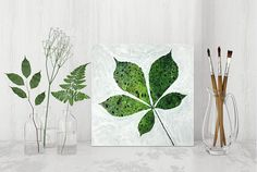 leaf painting patterned plant mixed media original art ooak