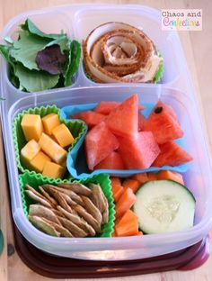 Healthy school lunch box idea via http://chaosandconfections.blogspot.com