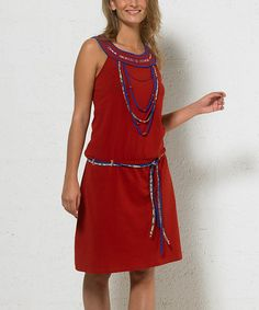 Look at this Rust Drop-Waist Yoke Dress on #zulily today!
