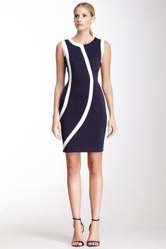 Sleeveless Two-Tone Dress by Calvin Klein