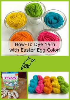 Learn how to dye vibrant yarn with Easter Egg Dye Tablets. A fun Beginner Yarn Dyeing project. Fabric Yarn, How To Dye Fabric, Fabric Crafts, Vinyl Fabric, Easter Egg Dye, Coloring Easter Eggs, Yarn Projects, Projects For Kids, Crochet Crafts