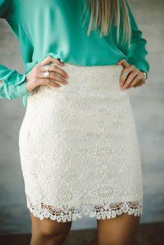 Crochet lace pencil skirt