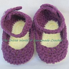 €16. Crochet Violet sandals for a baby girl 6-9 months old. Ready to ship.