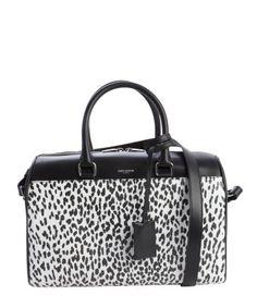 style #334722801 black leather animal print convertible top handle duffle bag