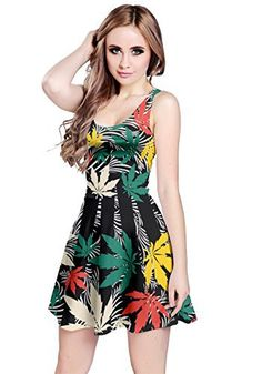CowCow Womens Black Colorful Pattern Cannabis Marijuana Sleeveless Dress, Black - XS 420 Clothing, Black Women Fashion, Womens Fashion, Diy Gifts For Boyfriend, Fashion Story, Jacket Style, Color Patterns, Summer Dresses, Dress Black