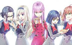 Download imagens Querido No Frankxx, 2018, Anime japonês de mangá, série de televisão, Zero Dois, Ikun produção, Kokoro, Miku, Ichigo