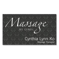 Massage Text on Gray Damask Business Cards. I love this design! It is available for customization or ready to buy as is. All you need is to add your business info to this template then place the order. It will ship within 24 hours. Just click the image to make your own!