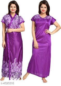 Nightdress New Eva Stylish Satin Women Nightdres Fabric: Satin Sleeve Length: Short Sleeves Pattern: Printed Add on: Robe Multipack: 1 Sizes: Free Size (Bust Size: Up To 32 in To 44 in, Length Size: 52 in) Sizes Available: Free Size   Catalog Rating: ★3.9 (461)  Catalog Name: Divine Alluring Women Nightdresses CatalogID_654063 C76-SC1044 Code: 413-4523318-