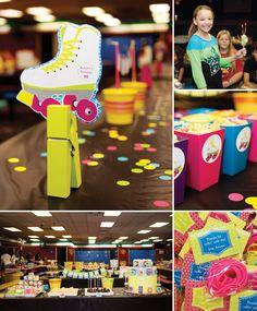 Radical & NEON Roller Skate Party by PRO Member Abigail Barnes of paper & CAKE! http://hwtm.me/YZKhP9