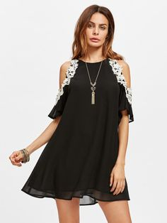 Lace Applique Open Shoulder Swing Dress -SheIn(Sheinside)