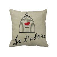 Je t'adore pillow  valentines day love