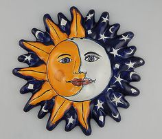 Mexican Talavera Ceramic Sun Face Wall Decor Hanging Pottery Folk Art # 17  sc 1 st  Pinterest & GORGEOUS Metal Talavera Tile Style Mexican Sun Wall Art Cantina ...