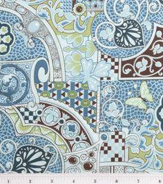 Keepsake Calico Fabric- Mediterranean Mosaic Teal