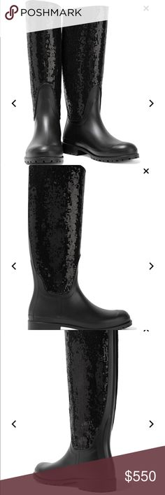 newest 93f37 f8b58 Yves Saint Laurent Sequin Rainboots Noir 100% Authentic Never Worn Tried On  on a carpeted