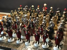 Unique handmade chess set,hand painted. Pewter handcrafted chess set