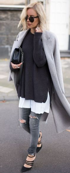 Ultimate street style, Chanel Boy Bag, black scrappy heels, black washed out jeans, white long shirt, black knitted jumper and grey coat