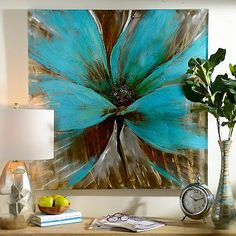 Bright Blue Flower Canvas Art Print