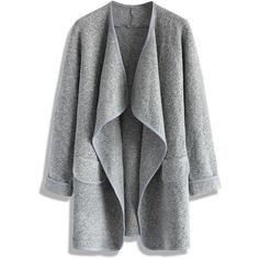 Chicwish Just Knitted Open Coat in Grey (€33) ❤ liked on Polyvore featuring outerwear, coats, jackets, cardigans, tops, grey, gray coat, evening coat and grey coat