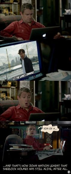 TOO FUNNY. how John found out Sherlock was still alive. by watching the Olympics. Benedict Cumberbatch News, Sherlock Cumberbatch, Sherlock Fandom, Sherlock Holmes, Sherlock John, Mrs Hudson, Fandoms, 221b Baker Street, John Watson