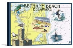 Bethany Beach, Delaware - Nautical Chart - Lantern Press Artwork (18x12 Gallery Wrapped Stretched Canvas), Multi