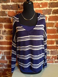 2 more fall styles in today! This hooded sweater is so comfy and lightweight enough to wear now! Come by and get yours or order online here: http://8thstreetboutique.com/collections/new-arrivals/products/navy-white-striped-hooded-sweater